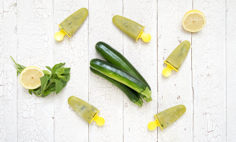 Zucchini Mint Lemonade Ice Pops